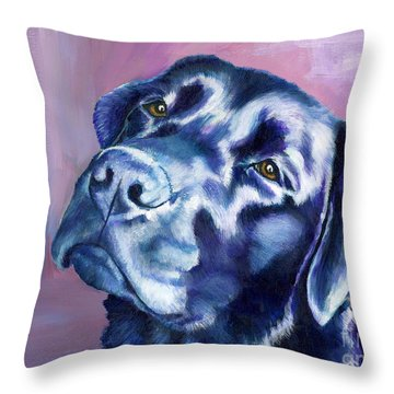Need Help With That? Black Lab Throw Pillow