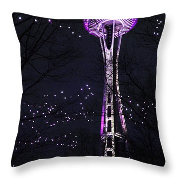 Needle In Purple Throw Pillow by Sonya Lang