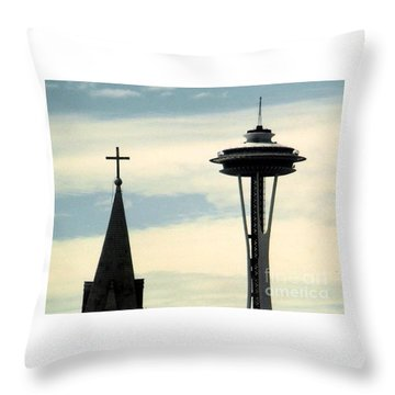 Throw Pillow featuring the photograph Seattle Washington Space  Needle Steeple And Cross by Michael Hoard