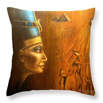 Nefertiti Throw Pillow by Arturas Slapsys