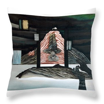 Throw Pillow featuring the painting Negative Ion by Fei A