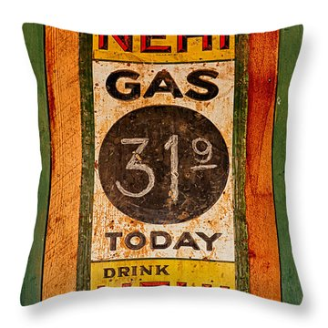 Nehi And Gas Sold Here Throw Pillow by Priscilla Burgers