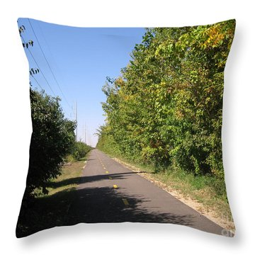 Neighborhood Bicycle And Walking Trail Throw Pillow