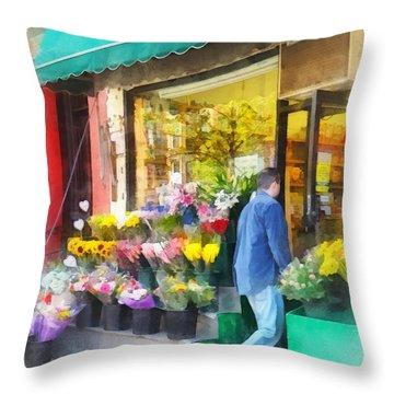 Neighborhood Flower Shop Throw Pillow by Susan Savad