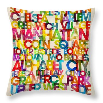 Neighborhoods Of Manhattan New York Throw Pillow by Michael Tompsett