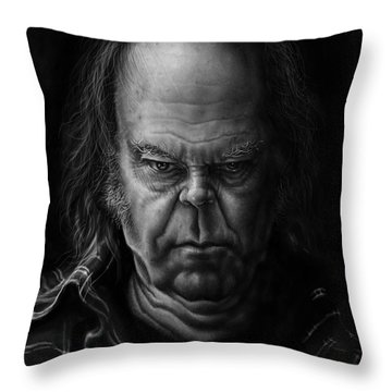 Neil Young Throw Pillow by Andre Koekemoer
