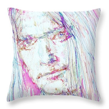 Neil Young - Colored Pens Portrait Throw Pillow by Fabrizio Cassetta