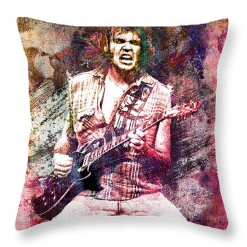 Neil Young Original Painting Print Throw Pillow by Ryan Rock Artist