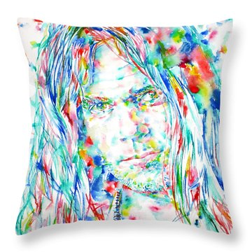 Neil Young - Watercolor Portrait Throw Pillow by Fabrizio Cassetta