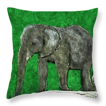 Throw Pillow featuring the digital art Nelly The Elephant by Pennie  McCracken