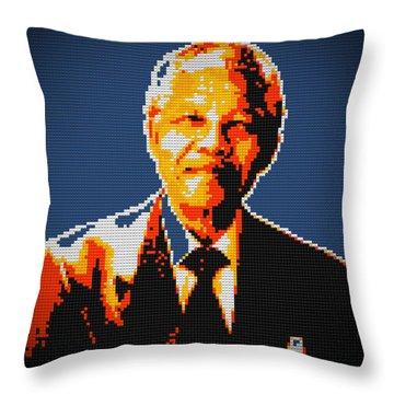Nelson Mandela Lego Pop Art Throw Pillow by Georgeta Blanaru
