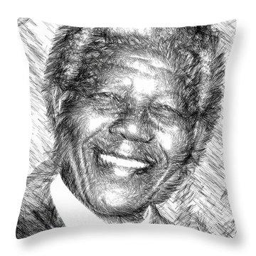 Nelson Mandela Throw Pillow by Rafael Salazar