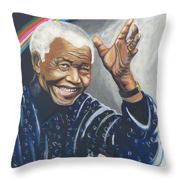 Nelson Mandela The Father Of The Rainbow Nation Throw Pillow