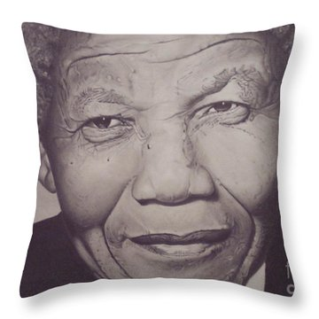 Throw Pillow featuring the drawing Nelson Mandela by Wil Golden
