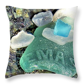 Nemasket Bottle Sea Glass Throw Pillow by Janice Drew