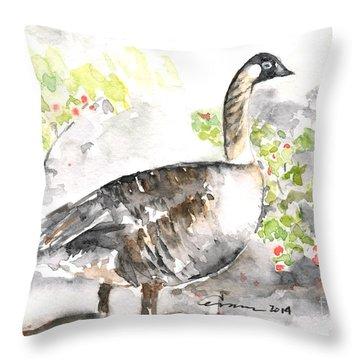 Nene #2 - Hawaiian Goose Throw Pillow