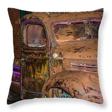 Neon And Rust Throw Pillow