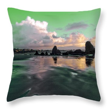 Throw Pillow featuring the photograph Neon Beach by Adria Trail