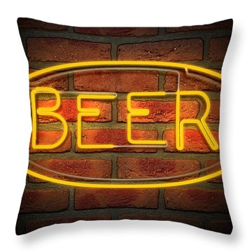 Neon Beer Sign On A Face Brick Wall Throw Pillow