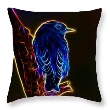 Neon Bluebird Throw Pillow