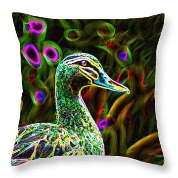 Neon Duck Throw Pillow by Naomi Burgess