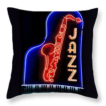 Neon Jazz Throw Pillow by Nadalyn Larsen