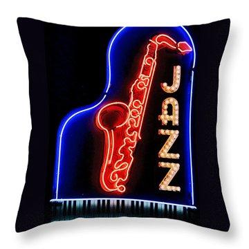 Neon Jazz Throw Pillow