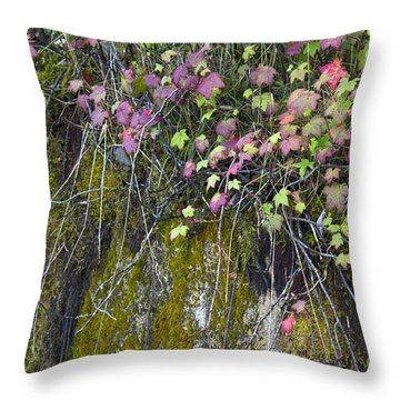 Neon Leaves No 1 Throw Pillow