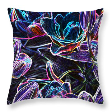 Neon Lilies Throw Pillow