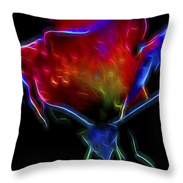 Throw Pillow featuring the digital art Neon Rose by William Horden