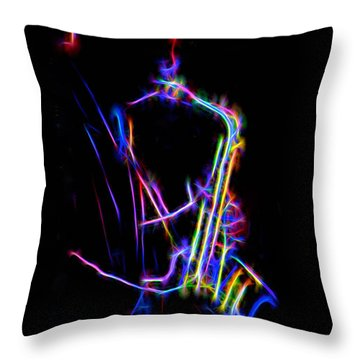 Neon Sax Throw Pillow
