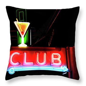Neon Sign Club Throw Pillow