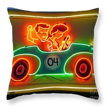 Neon Sign Kennywood Park Throw Pillow