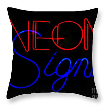 Neon Signs In Black Throw Pillow by Kelly Awad