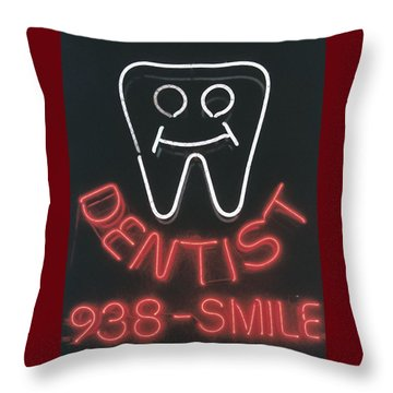 Neon Smile Throw Pillow by Caitlyn  Grasso