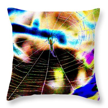 Neon Spider Throw Pillow by Kim Pate