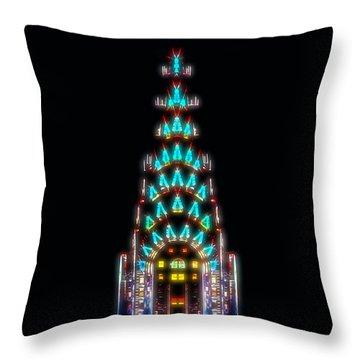 Neon Spires Throw Pillow