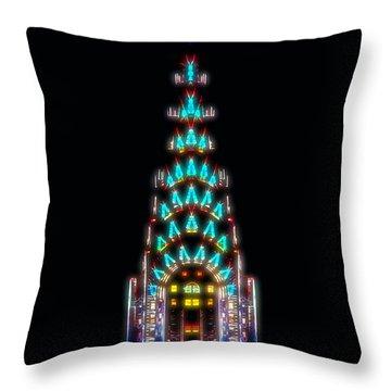Neon Spires Throw Pillow by Az Jackson