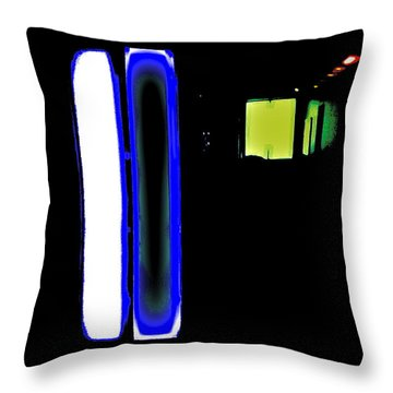 Neon Subway Tunnel Throw Pillow