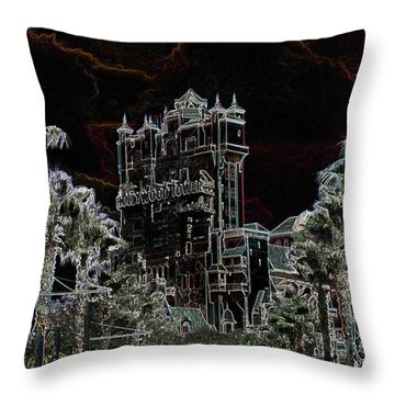 Neon Tower Throw Pillow by Eric Liller