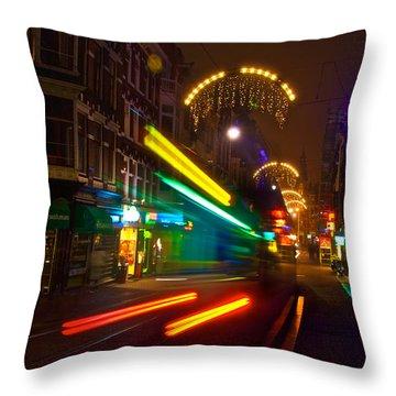 Neon Tram Leidestraat Throw Pillow by Jonah  Anderson