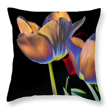 Neon Tulips Throw Pillow