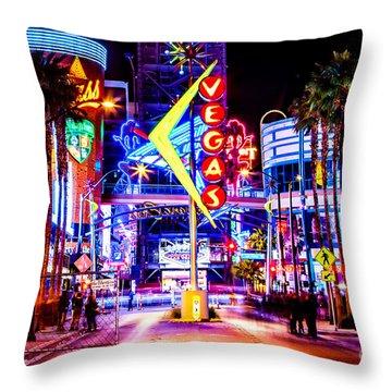 Neon Vegas Throw Pillow