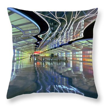 Neon Walkway At Ohare Throw Pillow by Martin Konopacki