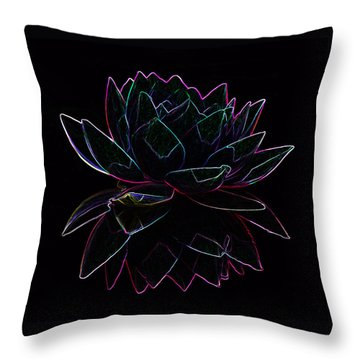 Neon Water Lily Throw Pillow