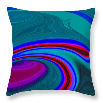 Throw Pillow featuring the painting Neon Wave C2014 by Paul Ashby