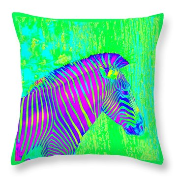 Neon Zebra 2 Throw Pillow by Jane Schnetlage