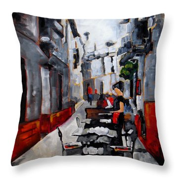 Nerja Spain Throw Pillow by Vickie Warner