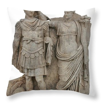 Nero And His Mother Agrippina Throw Pillow by Tracey Harrington-Simpson