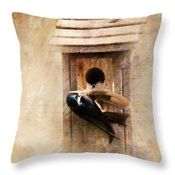 Nest Prepping Throw Pillow
